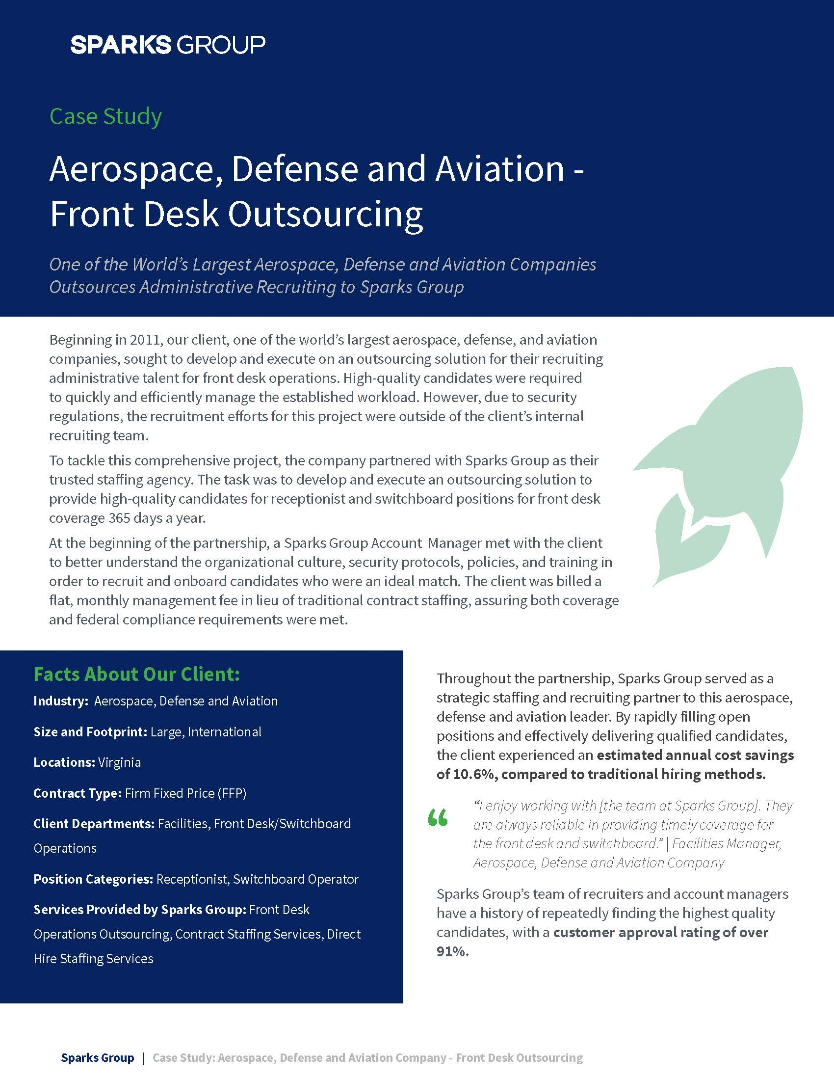 Aerospace, Defense and Aviation Company – Front Desk Outsourcing Case Study