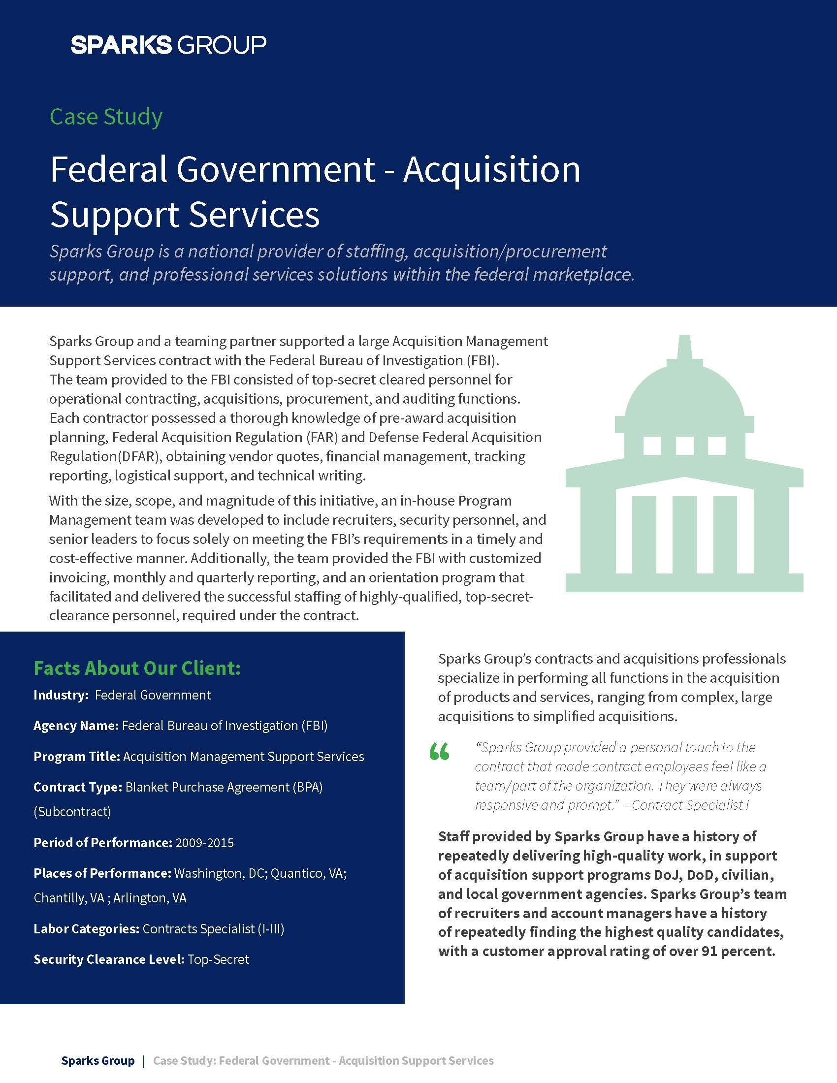Case Study - Federal Government Acquisition Support Services