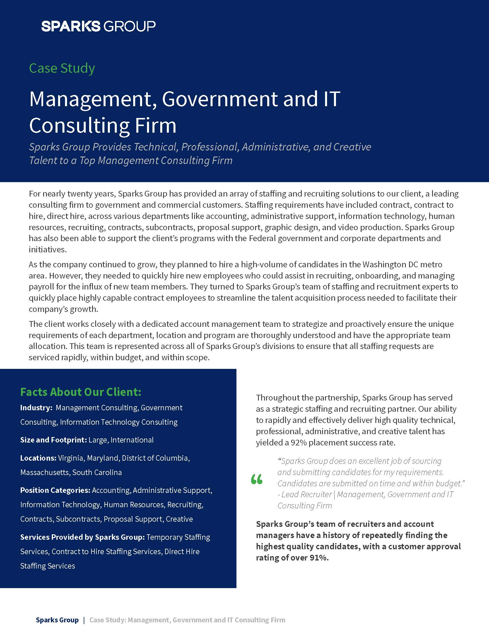 Staffing Agency Case Study: Management, Government and IT Consulting Firm